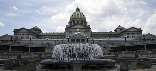 Shown is the Pennsylvania Capitol building in Harrisburg, Pa., Monday, July 10, 2017.