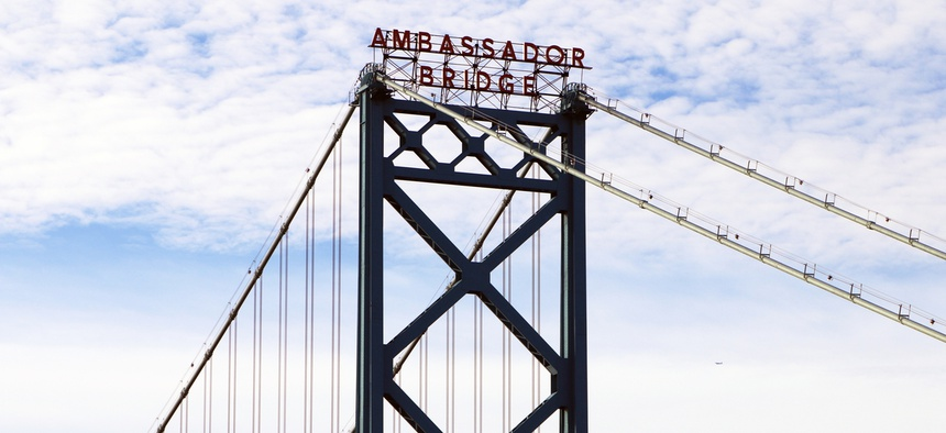 The Ambassador Bridge connects Detroit, Michigan with Windsor, Ontario.