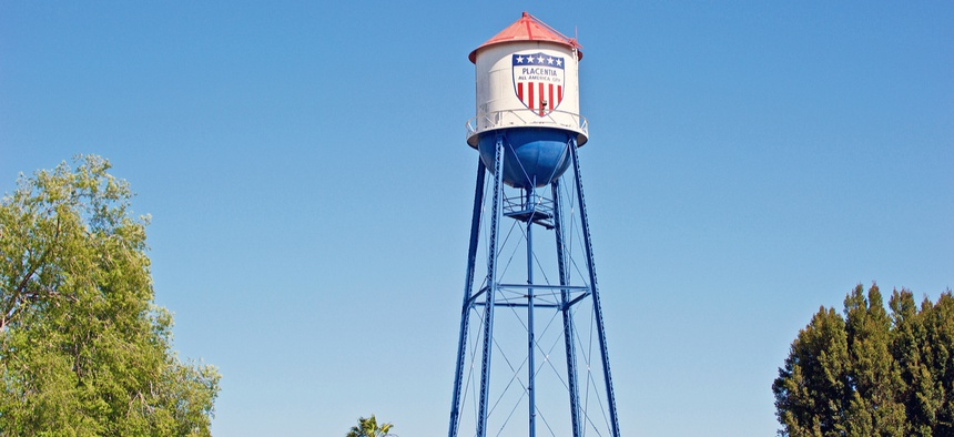 PLACENTIA/CALIFORNIA - APRIL 22, 2018: Placentia landmark water tower.