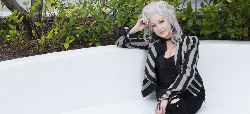 Musician Cyndi Lauper poses for a portrait at the Sunset Marquis, Thursday, June 28, 2018, in Los Angeles.