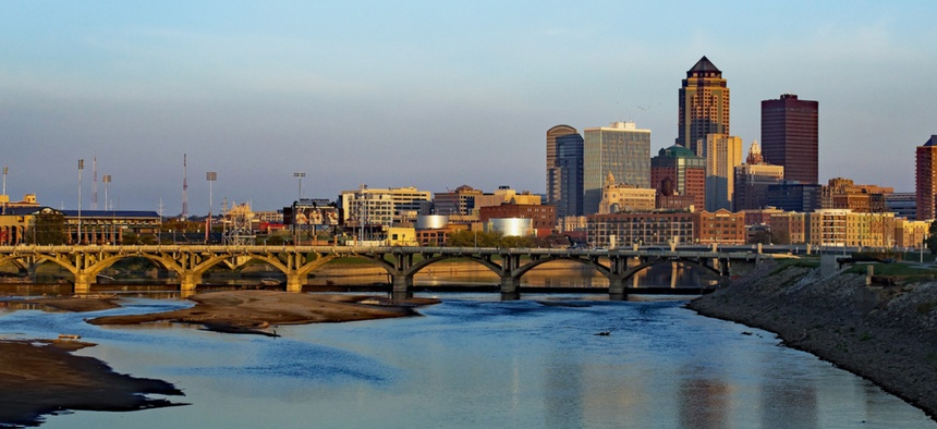 Downtown Des Moines, Iowa, at sunrise.