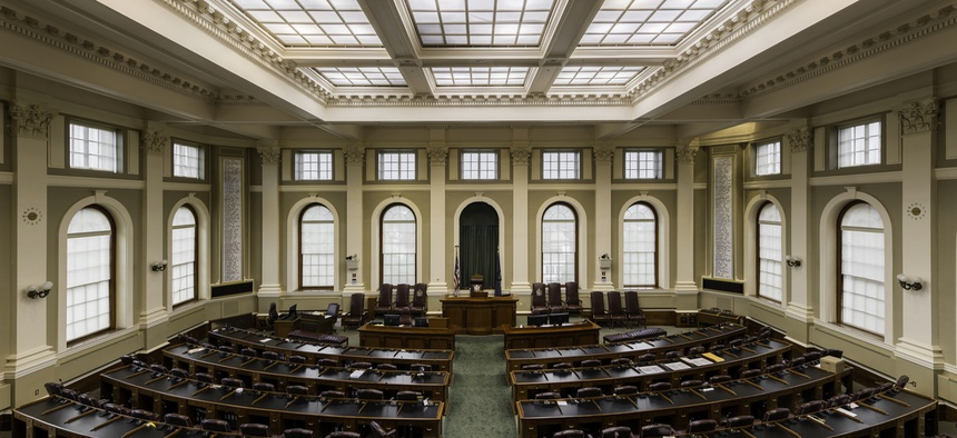 House of Representatives chamber in the Maine State House on July 29, 2015 in Augusta.