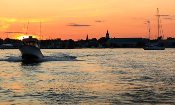 A boat speeds on the water in the Chesapeake Bay near Annapolis, Maryland.