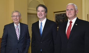 Senate Majority Leader Mitch McConnell of Ky., left, poses for a photo with Supreme Court nominee Brett Kavanaugh, center, and Vice President Mike Pence, right, as they visit Capitol Hill in Washington, Tuesday, July 10, 2018.