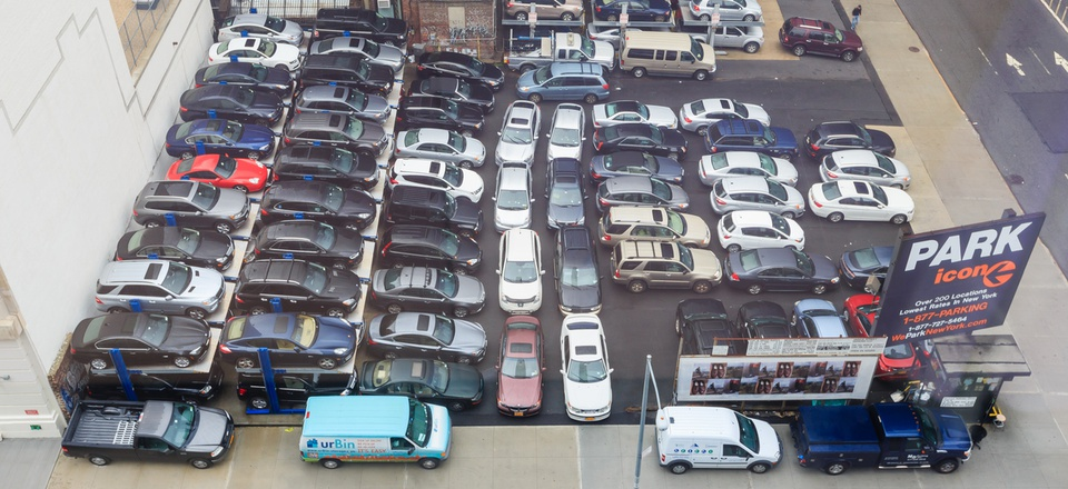 A crowded parking lot in New York CIty.