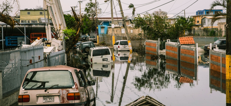 Streets in the Ocean Park sector of San Juan remain flooded weeks after Hurricane María utterly devastated the entire island of Puerto Rico in 2017.