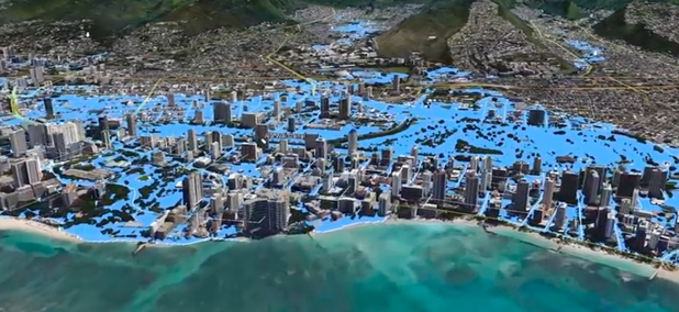 What a flood in the Waikiki area of Honolulu could look like.