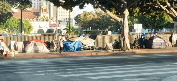 Homeless people living in tents in downtown Los Angeles.