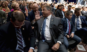 Rep. Bill Shuster, R-Pa., center, sits in the audience before president Donald Trump speaks at a roundtable on infrastructure at the Department of Transportation, Friday, June 9, 2017, in Washington.