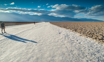 Salt flats of Badwater Basin in Death Valley in California.