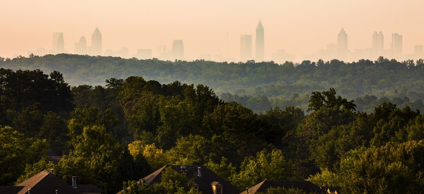 Cobb County, Georgia with Atlanta in the distance.