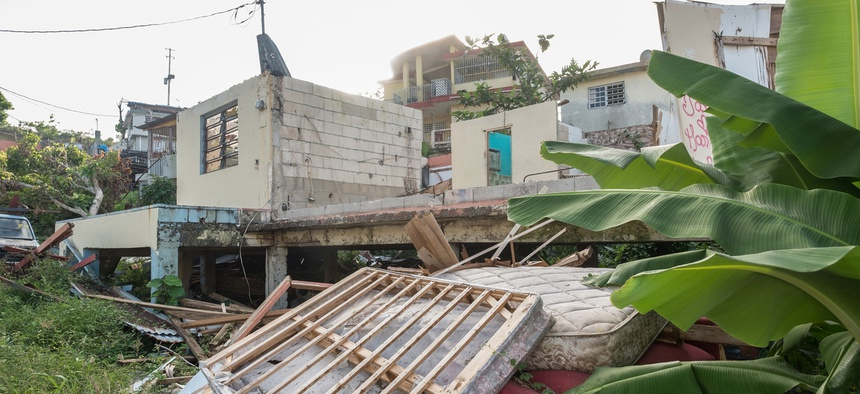 A photo of a house destroyed by Hurricane Maria in Puerto Rico taken in December 2017.