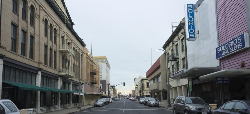 A file photo of Main Street in Stockton, California.