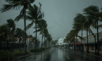 In September 2017, Hurricane Irma hits Miami Beach, Florida.