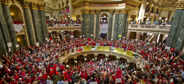 Wisconsin union protesters rally in February 2011 as legislation limiting unions is under consideration.