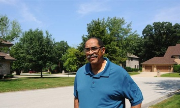 Sterling Burke, president of the board of trustees of Olympia Fields, Illinois, near his home. The village has the highest black homeownership rate in the country among majority-black cities.