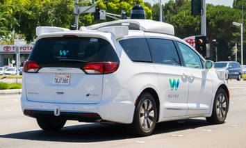 A Waymo vehicle being testing in Mountain View, California