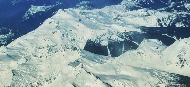 The Glacier Peak volcano, 65 miles northeast of Seattle can be difficult to spot from the both the populated Puget Sound lowlands and also flying over the Cascade Range.