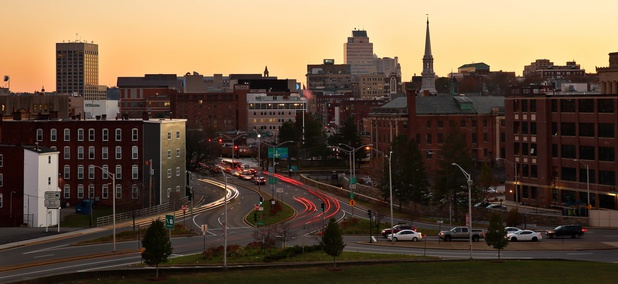 The skyline of Worcester, Massachusetts after sunset in 2017.