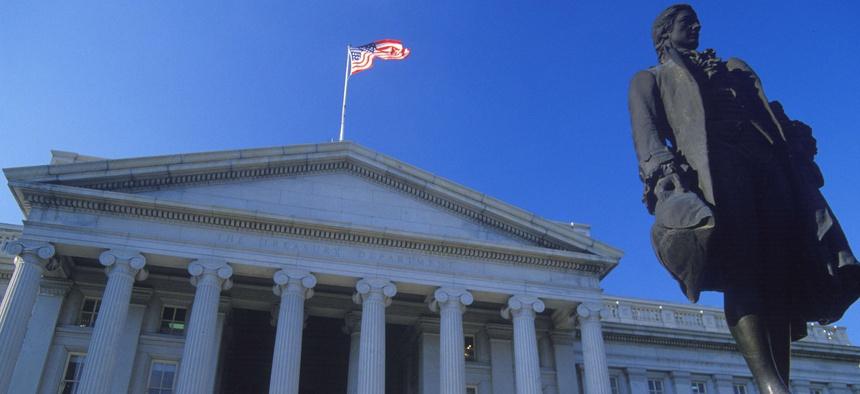 The Treasury Department building in Washington, D.C.