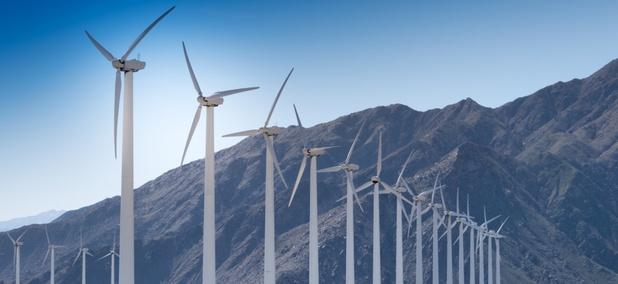 A wind farm in Palm Springs, California.