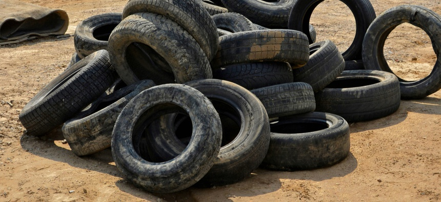 Tires provide breeding grounds for mosquitoes by holding and insulting standing water.