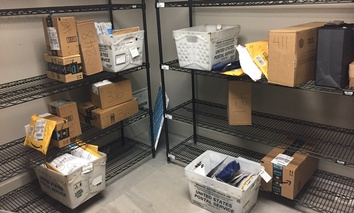 In this April 13, 2018, photo, packages from Internet retailers are delivered with the U.S. Mail in a apartment building mail room in Washington.