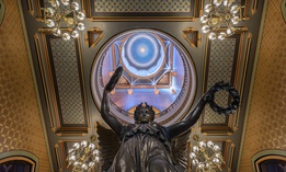 """""""The Genius of Connecticut"""" statue on the rotunda floor of the Connecticut State Capitol on July 22, 2015 in Hartford, Connecticut."""