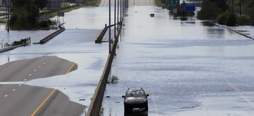 Interstate 95 near Lumberton, N.C. was closed on Monday due to flooding from Hurricane Florence.