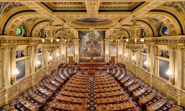 An empty House of Representatives chamber in the Pennsylvania State Capitol building in Harrisburg, Pennsylvania.