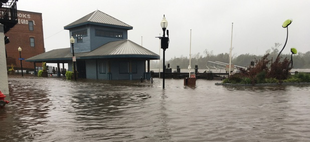 The Cape Fear River floods part of downtown Wilmington, North Carolina