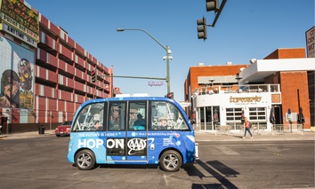 Las Vegas' self driving bus shuttles passengers around the city.