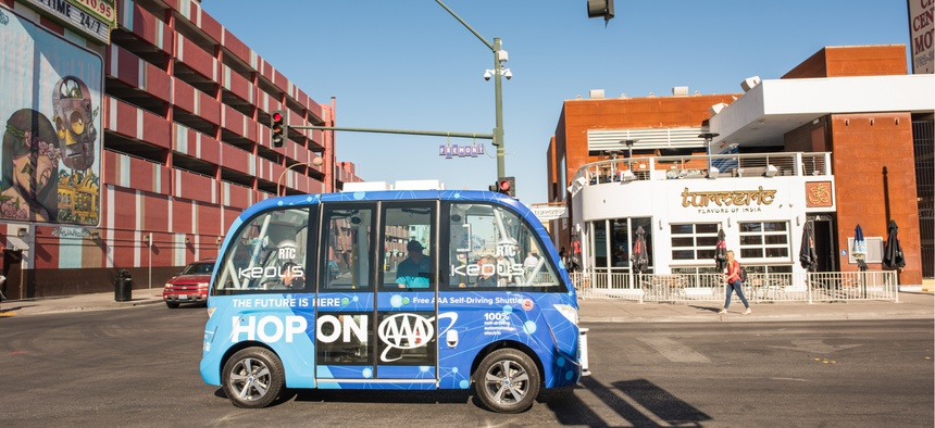 Las Vegas' self driving bus shuttles passengers around the city.