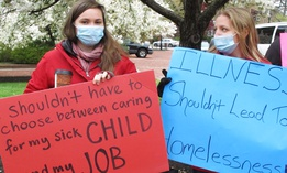 Sandy Robson, left, and Crystal Hall rally for legislation for paid sick leave on Monday, April 11, 2016, in Annapolis, Md.