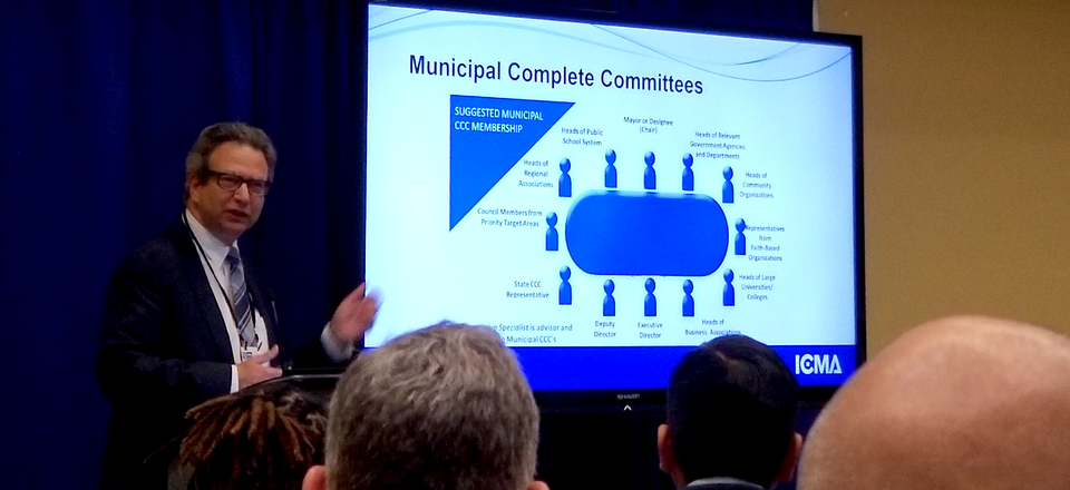 Philip Lutz, a regional census manager for the U.S. Census Bureau, discusses the 2020 Census at the International City / County Management Association annual conference.