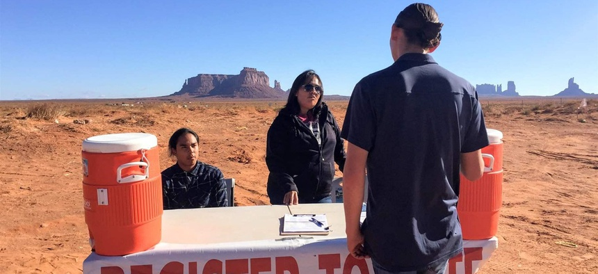 Delaney After Buffalo, left, and Tara Benally register Shaye Holiday to vote in Monument Valley, Utah. Native Americans here have a chance to take control of local government for the first time.
