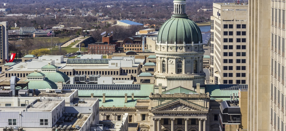 The Indiana Statehouse in Indianapolis.