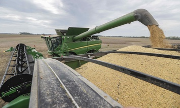 Mike Starkey offloads soybeans from his combine as he harvests his crops in Brownsburg, Ind., Friday, Sept. 21, 2018.