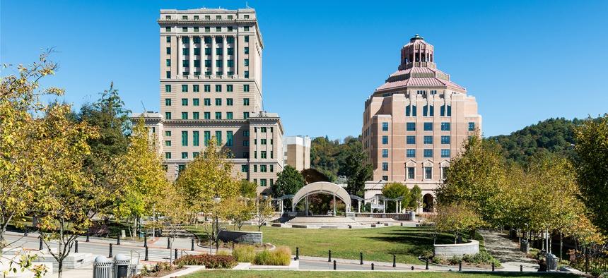 City Hall, at right, in Asheville, North Carolina