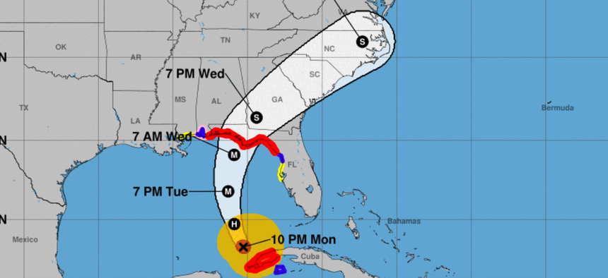 The National Hurricane Center's forecast track for Hurricane Michael from Monday night.