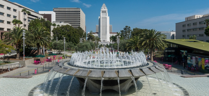 Los Angeles City Hall as seen from Grand Park