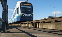 A Sound Transit Link train heads north into downtown Seattle.