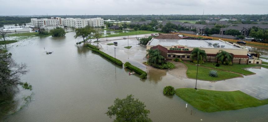 Flooding from Hurricane Harvey in League City, Texas