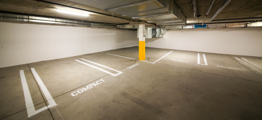 An empty parking garage in Los Angeles.