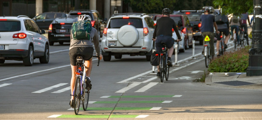 Cyclists commuting to work in Seattle in June 2018.