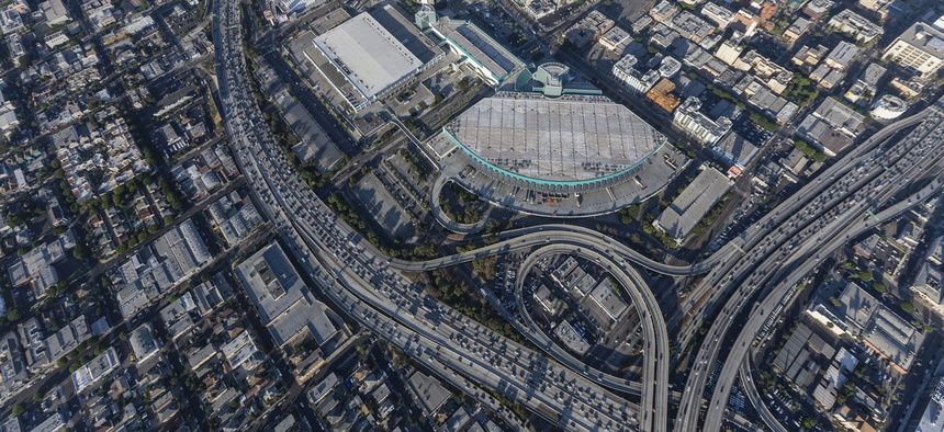 The 10 and 110 freeways intersect near downtown Los Angeles.