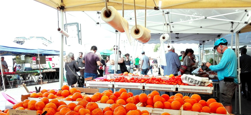 Hollywood farmers' market on Ivar and Selma Avenues.