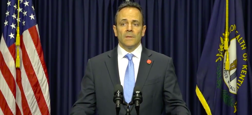 Kentucky Gov. Matt Bevin speaks to reporters on Monday.