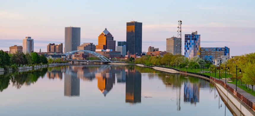 Skyline of Rochester, New York along the Genesee River. New York lost the most population between 2017 and 2018.