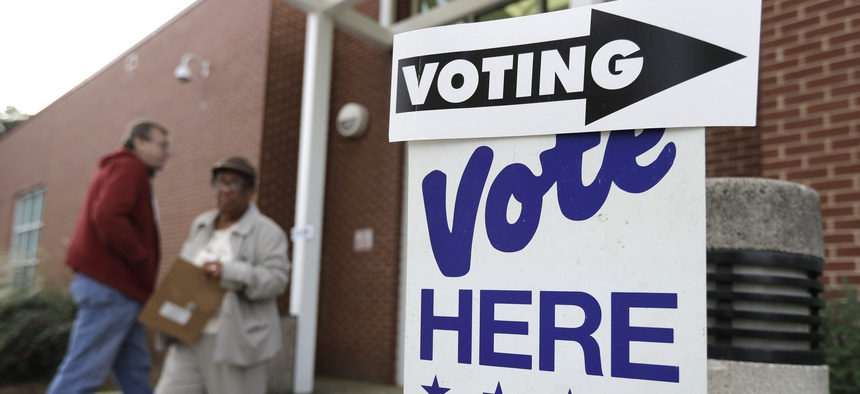 An early voting polling place in North Carolina. Voters in the 9th Congressional District may have to go back to the polls for a redo election.